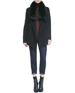 Vince Fur-Collar Knit Drape Cardigan, Knit Turtleneck Sweater & Mason Relaxed Rolled-Cuff Jeans
