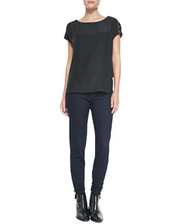 Vince Silk Button-Detail Blouse & Mason Relaxed Rolled-Cuff Jeans