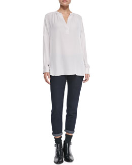 Vince Silk Popover Long-Sleeve Blouse & Mason Relaxed Rolled-Cuff Jeans