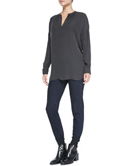 Vince Silk Long-Sleeve Popover Blouse & Mason Relaxed Rolled-Cuff Jeans