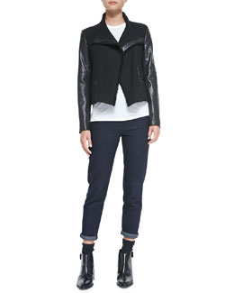 Vince Leather-Sleeve Boucle Scuba Jacket, Basic Tee & Mason Relaxed Rolled-Cuff Jeans