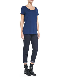 Vince Seamed Short-Sleeve Tee & Mason Relaxed Rolled-Cuff Jeans