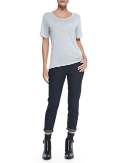 Vince Short-Sleeve Scoop-Neck Tee & Mason Relaxed Rolled-Cuff Jeans
