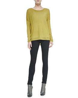 Vince Crewneck Long-Sleeve Sweater & Seamed Ponte Leggings