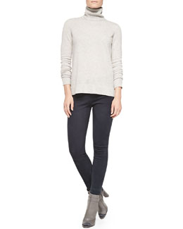 Vince Cashmere Turtleneck Sweater & Suede Zip-Ankle Leggings