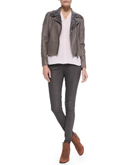 Elie Tahari Mae Lambskin Jacket, Anabella Long-Sleeve Silk Blouse & Azella Leather-Coated Jeans