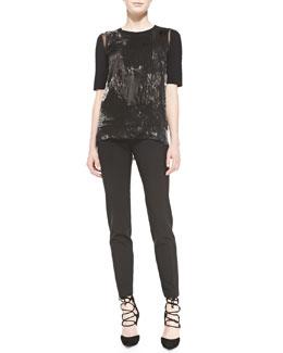 Elie Tahari Rachelle Elbow-Sleeve Brushstroke-Print Blouse & Bennet Cropped Slim-Leg Pants
