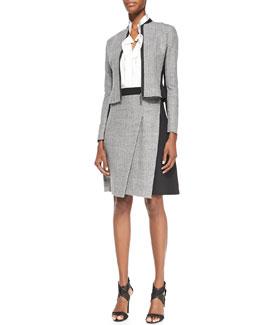 Elie Tahari Cambell Zip-Front Combo Jacket, Marlow Sleeveless Georgette Blouse & Larissa Diagonal-Pleat Combo Skirt