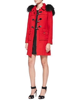 Milly Silver Fox Fur-Trim Duffle Coat & Textured Knit Sheath Dress