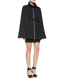 Milly Sienna Zip-Front Wool Cape & Textured Knit Sheath Dress