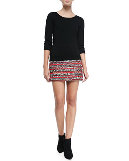 Milly Knit 3/4-Sleeve Back-Zip Sweater & Tweed Miniskirt