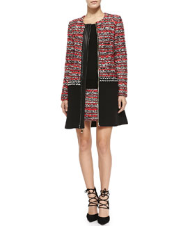Milly Couture Tweed Multimedia Coat, Merino 3/4-Sleeve Back-Zip Sweater & Tweed Miniskirt