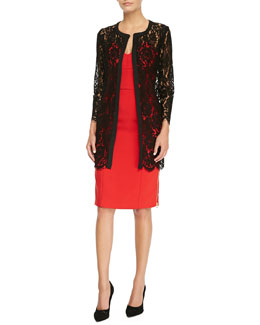 Milly Sheer Floral-Lace Open Coat & Marta Side-Zip Strapless Dress