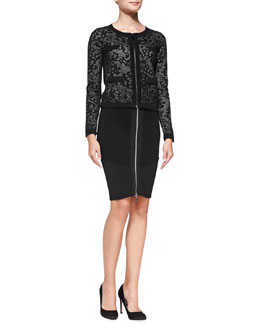 Milly Zip-Front Lace Jacquard Jacket & Stretch Zip Pencil Skirt