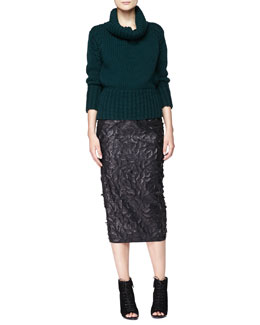 Burberry London Chunky Knit Turtleneck Sweater and Leather Laser-Cut Pencil Skirt
