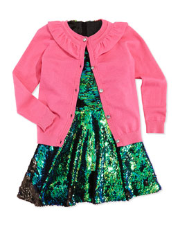 Milly Minis July Ruffle Knit Cardigan & Hologram Sequined Dress