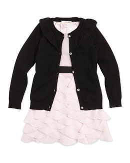 Milly Minis Girls' July Ruffle Rhinestone-Button Cardigan & Tiered Petal-Appliqué Party Dress
