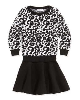 Milly Minis Cheetah-Jacquard Pullover Sweater & Knit Pull-On Skirt
