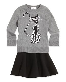 Milly Minis Cheetah-Print Knit Sweater & Knit Pull-On Skirt