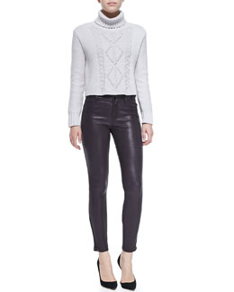 J Brand Jeans Maddie Turtleneck Sweater w/ Cable-Knit Front & L8001 Leather Leggings