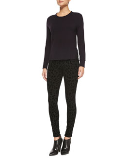 J Brand Ready to Wear Cashmere Eugenia Crewneck Sweater & Leopard-Print Ponte Skinny Pants