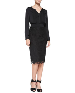 Milly Streamer-Front Stretch-Silk Blouse & Long Floral-Lace Pencil Skirt