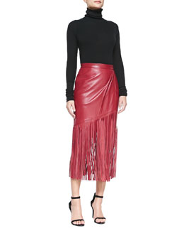 Tamara Mellon Cashmere Endless Turtleneck Sweater & Leather Skirt with Long Fringe