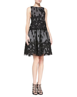 Alice + Olivia Anna Embroidered Mesh Boat-Neck Top & Pia Leather-Waist Embroidered Skirt