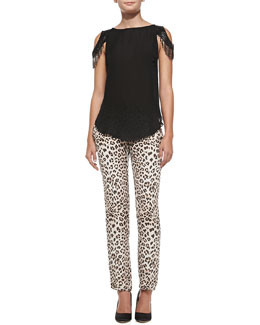 Haute Hippie Silk Cold-Shoulder Tank Top & Silk Leopard-Print Trousers