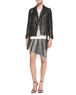 Haute Hippie Slash-Sleeve Lambskin Moto Jacket, Morning After Jersey Graphic Tee & Metal Fringe Pencil Skirt