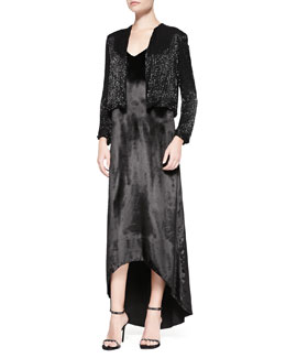 Alice + Olivia Kevin Sequined Cropped Evening Jacket & Long Trapeze Satin Tank Dress