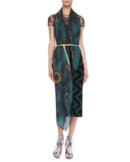 Burberry Prorsum Floral-Embroidered Tulle Top, Compact Knit Pencil Skirt & Vine Cashmere Scarf