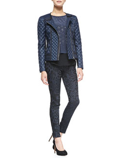 Rebecca Taylor Quilted Puffer Moto Jacket, Geo Shimmer Silk Top & Leopard-Print Brocade Pants
