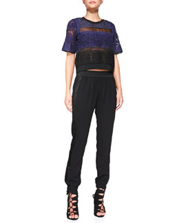 Rebecca Taylor Patchwork Lace Mixed-Media Top & Knit Pull-On Pants