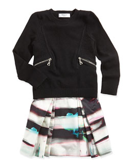 Milly Minis Zipper-Detail Pullover Sweater & Mirage-Print Katie Skirt
