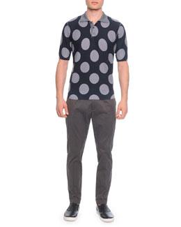 Big-Dot Silk Polo Shirt & Gabardine Trousers