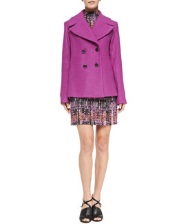Nanette Lepore Boucle Pea Coat & Handloom Print Short Dress