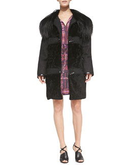Nanette Lepore Toggle-Front Coat w/ Fur Collar & Sleeveless Carpet-Print Dress