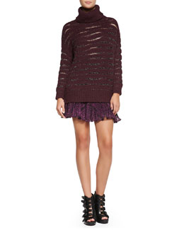 Nanette Lepore Striped Shimmery Knit Turtleneck Sweater & Embroidered Pleated A-Line Skirt