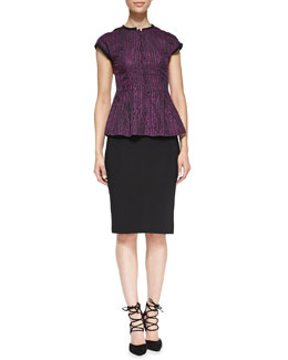 Nanette Lepore Solid-Trim Flared Jacquard Top & Ottoman Ribbed Knit Pencil Skirt