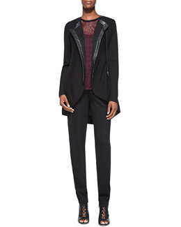 Nanette Lepore Long Leather-Trim Sweater Jacket, Geo Lace Tank & Sweater Knit Track Pants