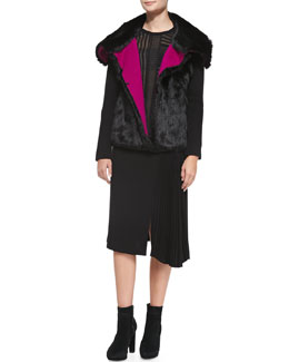 Nanette Lepore Rabbit Fur Ribbed-Knit Jacket & Long-Sleeve Patchwork Ponte Top
