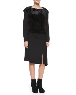 Nanette Lepore Rabbit Fur Pullover Sweater & Side-Pleated Skirt
