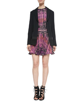 Nanette Lepore Leather-Inset Drapery Blazer, Handloom-Print Tank Top & Handloom Print Pleated Skirt