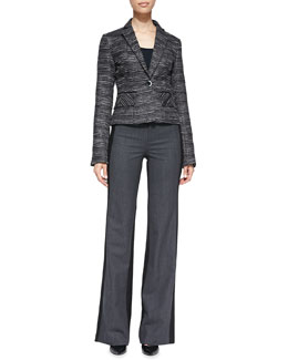 Nanette Lepore Striped Tweed Fitted Blazer & Two-Tone Woven Flannel Trousers