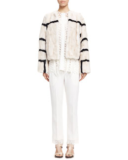 Striped Mink Fur Coat, Fringe-Trim Lace Blouse & Tailored Fringe-Hem Pants