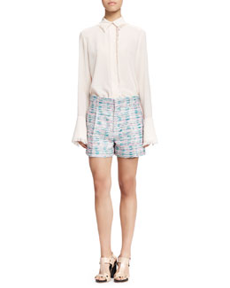 Fringe-Trim Button-Up Blouse and Pleated Tweed Shorts