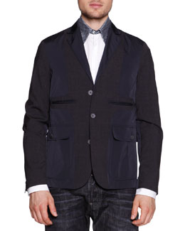 Mixed Media Notch-Lapel Jacket, Polka-Dot-Collar Poplin Shirt & Workwear Black Faded Jeans