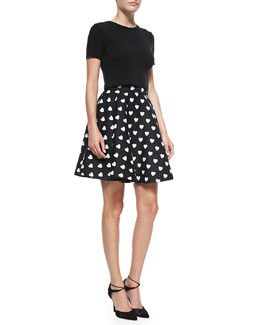 Alice + Olivia Short-Sleeve Crewneck Crop Top & Heart-Print Circle Skirt