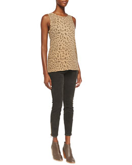 Current/Elliott The Muscle Leopard-Print Tee & The Soho Zip Stiletto Twill Pants